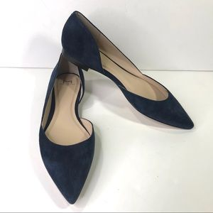 Marc Fisher LTD Sunny Half d'Orsay Blue Suede Flat